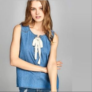 Tops - Sleeveless front lace up detail Chambray Top